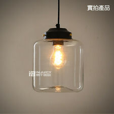 Loft Glass Jar Edison Ceiling Lamp DropLight Pendant For Cafe Bar Dinning Room