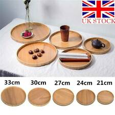 UK Round Wooden Plate Natural Wood Serving Tray Tea Food Server Dishes Platter