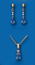 Sapphire and Diamond Set Pendant and Earrings Kanchan Sapphire Yellow Gold