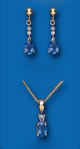 Sapphire and Diamond Set Pendant and Earrings Kanchan Sapphire Yellow Gold