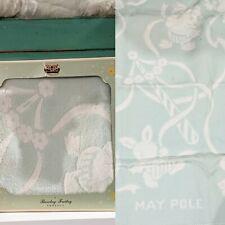 Vintage 1940s Barclay Freitag Pastel Mint Satin Trim Baby Animals Blanket