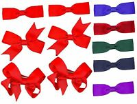 6 PIECE /3 Pairs SET Girls Small Hair Bows Grosgrain Ribbon Clips School Colours