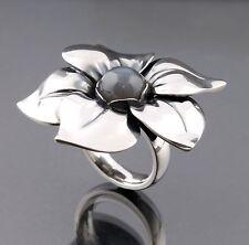GEORG JENSEN argento sterling anello a fiore #562B con Grigio moonstone. NUOVA