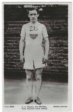 1908 London Olympics original photographic card of J Hayes Marathon winner