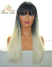 30 INCH PLATINUM WHITE BLONDE WOMENS WIG OMBRE BLACK SYNTHETIC HAIR FRINGE BANGS