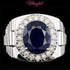 MAYTAL JEWELRY 14K WHITE GOLD 6CT SAPPHIRE AND DIAMOND MENS RING $8000 CERTIFIED