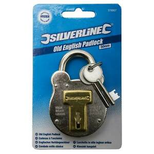 Silverline Traditional Old English Shed/Gate/Garage Padlock Security Lock 50mm