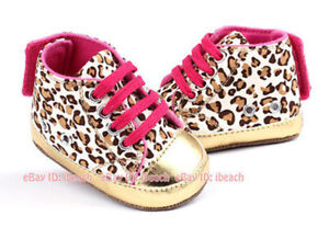 Newborn Baby Girl Gold Crib Shoes Infant Booties PreWalker Trainers Size 0-18 M