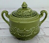 Canonsburg Pottery Company Regency Ironstone China Sugar Bowl Olive Green