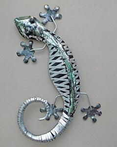 Unusual Stripped Metal Wall Gecko Ornament 60cm Hand Made Wall Lizard ornament