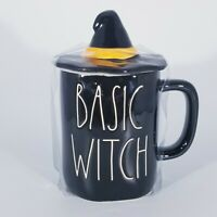 Rae Dunn Halloween Basic Witch Mug with Witch Hat Topper Black/ New
