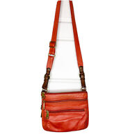 FOSSIL Explorer orange & Brown leather  top zip crossbody bag purse