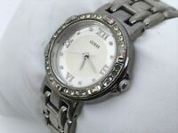 Guess Ladies Watch Silver Tone Crystal Accents Water Resistant Japan Movement