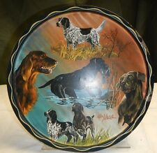 """Hunting Dog Serving Tray, by Ken Haag, Metal, 11"""" dia"""
