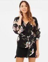 DECJUBA    Womens Mallory Wrap Floral Blouse Top  [ Size S or AU 10 / US 6 ]