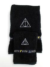 Harry Potter Deathly Hallows Symbol Towel Set - Harry Potter Bath Towels - Black