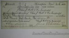 Obsolete Bank Check Charles J Webb $50000 Check 1920 Huge Dollar Value RARE