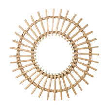 Wall Mounted Rattan Mirror Round Makeup Mirror Hanging Art Living Room Home Deco