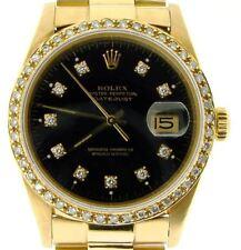 Rolex Datejust 18K Yellow Gold Watch Diamond Dial 1ct Bezel President Style Band