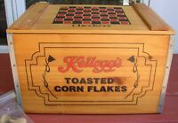 Vintage 1997 Kellogg's Toasted Corn Flakes Wooden Box Crate Chekker Board