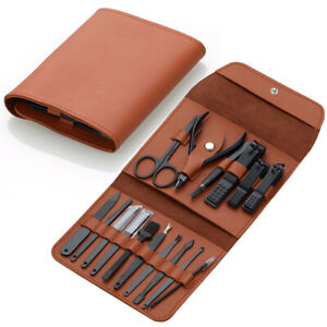 Women Mens Manicure Grooming Set Kit Cutter Cuticle Nail Clippers Leather Bag