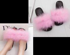 Women Real Fur Flat Shoes Fluffy Flip Flop Slippers Sliders Sandals Xmas Gift U