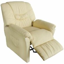 Electric Cream Massage Chair Armchair TV Recliner Artificial Leather Heated Seat
