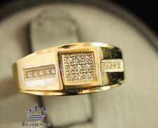 Mens 10K Yellow Gold Over White Diamond Engagement Wedding Pinky Band Ring