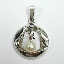 797 - Aparter Anhänger Weißgold 585 - Akoya-Zuchtperle Diamant ---  -1644-