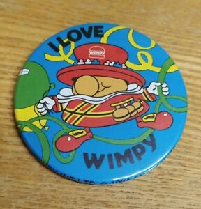 Vintage & Retro - Wimpy Burgers ' I love Wimpy ' Badge Kids 90s Collectable