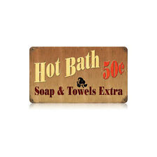 Hot Bath 50 Fifty Cents Soap and Towels Extra Washroom Tin Metal Steel Sign 14x8