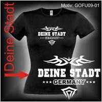 Damen T-Shirt Girlie Shirt mit Wunschtext Stadt oder Namen Wunschdruck GOFU09-01