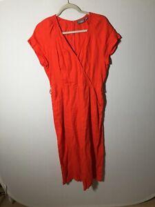 Sussan Linen Womens Jumpsuit Size 10 Orange Good Condition