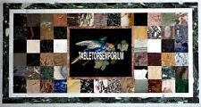 4'x2' Marble Black Dining Top Table Rare Multi Bird Décor Inlaid Gemstone Arts
