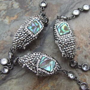 """28"""" natural Abalone Shell trimmed with macarsite Crystal Chain Necklace"""