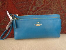 COACH Double Zip Wallet/Wristlet with POP-UP Pouch - Red,Zebra,Floral,Teal