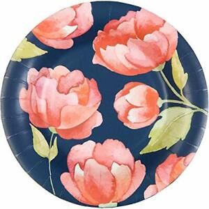 """NEW CR Gibson Navy Floral Coated Paper Lunch/Dessert Plate 16 Count 8"""""""
