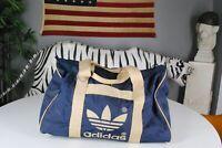 Vintage 80s Adidas Trefoil Gym Workout Duffle Bag Navy Blue Taiwan Hip Hop Rap