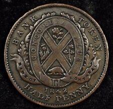 CANADA TOKEN NIGHT! NICE 1842 HALF PENNY BANK OF MONTREAL TOKEN. BRETON #527