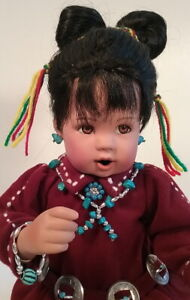 Gentle Flower Native American Indian Girl Porcelain Doll Danbury Mint Perillo 95