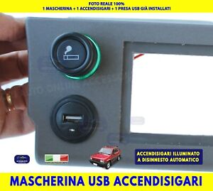 Mascherina Autoradio Fiat Panda Trekking Accendisigari USB Kit stereo Grigio per