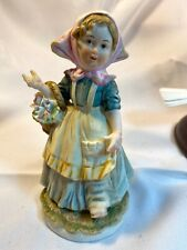 Lefton China Hand Painted Girl With Flower Basket Figurine Kw4243