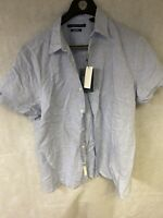 Perry Ellis Men's Short Sleeve Button Down Shirt Colony Blue Size XL New