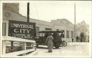 Universal City CA Old Cars at Entrance c1910 Real Photo Postcard