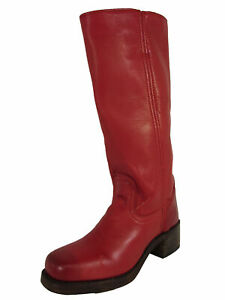 $328 Frye Womens Campus 14L Tall Boot Shoes, Burnt Red, US 6