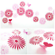 Home 3D Flowers Art Dream Wall Stickers Kids Room Decals Colorful 16Pcs/Set
