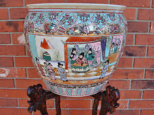 OLD Palatial Size Chinese Famillle Rose Porcelain Fish Bowl w/ Carved Fish Stand