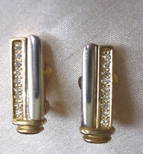 Art Deco Style  CLIP Earrings Gold Tone & Silver Tone Set With Diamantes