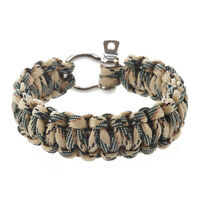 2X(Survival Bracelet with Stainless Steel Bow Shackle-Desert Camo-Ideal accF7V9)