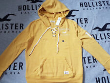 New Women's HOLLISTER Lace-Up Graphic Hoodie Size M Yellow